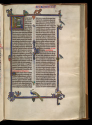 Historiated Initial, And Full Border, To The Gospels, In 'The Ashridge Petrus Comestor'